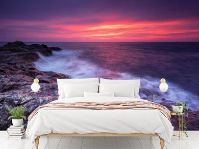 Rocky sunrise. Magnificent sunrise view in the blue hour at the Black sea coast, Bulgaria.