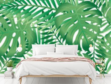 Green tropical palm tree leaves background