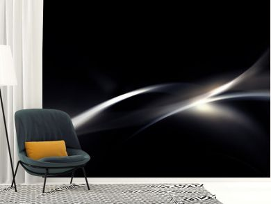Abstract silver gray and black background with smooth line, wave and glowing spots