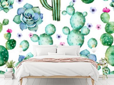 Seamless pattern with high quality hand painted watercolor cactus plants,succulents and purple flowers.Pastel colors,Perfect for your project,wedding,greeting card,photo,blog,wallpaper,pattern,texture