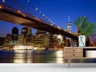 Brooklyn Bridge in New York City Manhattan at dusk