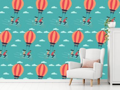 Young couple on the air balloon riding bicycle.Seamless pattern. Flying on the sky