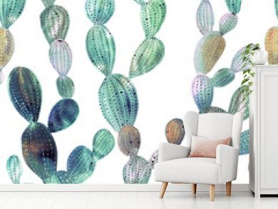 Cactus pattern in watercolor style