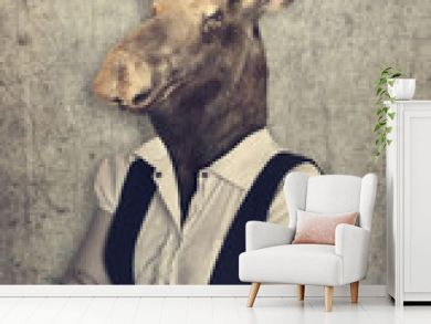 Moose in clothes. Concept graphic in vintage style.
