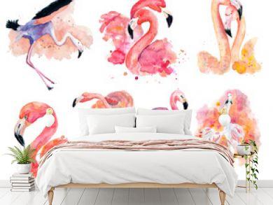 watercolor pink flamingos