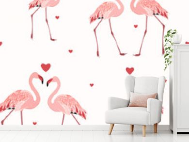 Pink flamingos and red hearts seamless pattern texture on white background. Love passion affection valentine day theme. Vector design illustration.