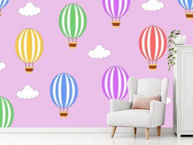 Seamless hot air balloon pattern with pink background