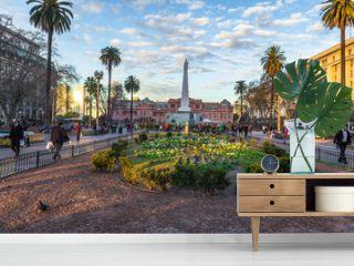 Buenos Aires - June 30, 2017: Gardens of the Casa Rosada in Buenos Aires, Argentina