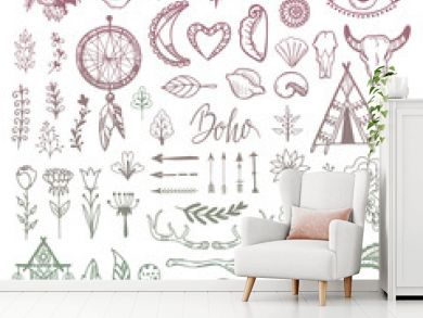Boho vector ethnic bohemian feather arrow and tribal decoration in bohostyle illustration vintage style set isolated on white background