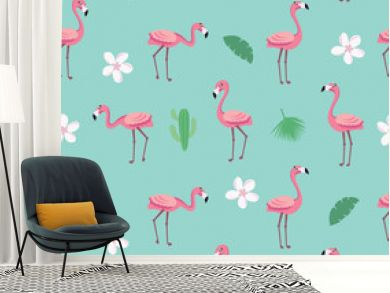 Flamingo pattern - trendy seamless pattern in flat style with flamingos, tropical flowers, leaves and cactus. Vector illustration design template