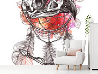 Boho Sketch Illustration With Hand Drawn Bird Skull Of Eagle With Indian Arrows, Feathers And Dreamcatcher. Hipster Fashion Print With Grunge Blots And Splash