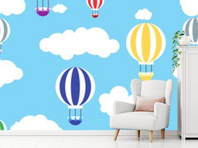 Sky with air balloons seamless pattern, vector illustration