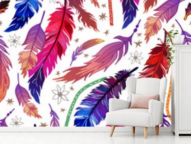 Ethnic feather seamless pattern in boho style.