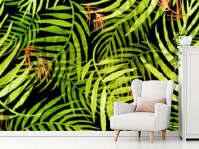 Seamless watercolor pattern, background. Palm leaf background, postcard. Green,red tropical palm leaf. Illustration for design wedding invitations, greeting cards, postcards.