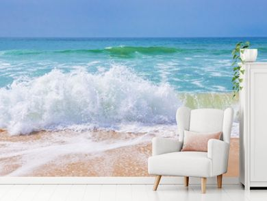 Atlantic ocean, front view of waves on the beach, tavel and summer panoramic background, web banner