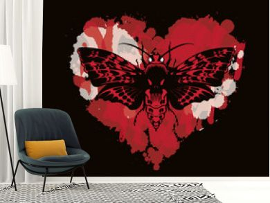 Vector graphic illustration of a butterfly Dead head with a skull-shaped pattern on the thorax. Black moth on abstract red heart. T-shirt design template