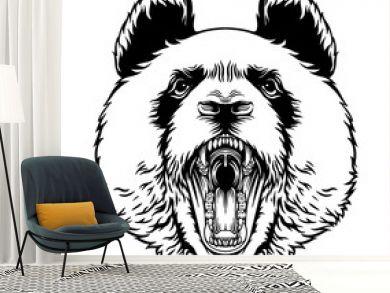 Angry Roaring Panda Head Vector Mascot Character Emblem, grins