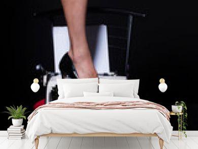 Perfect legs. vintage typewriter. modern fashion. fetish wear shoes on leg of girl. seducing you. love education. epilation depilation. female skincare in spa. sexy secretary. Erotic fantasy