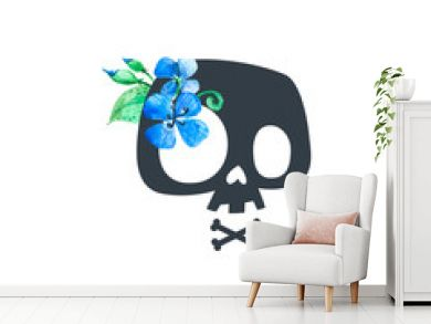 Floral Human Skull Black Blue Print Badge. Flower and Crossed Bone T-shirt Print Colorful Design. Skeleton Death Abstract Art Sticker Isolated Template Flat Vector Illustration