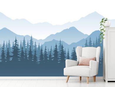 Mountain forest, vector landscape illustration