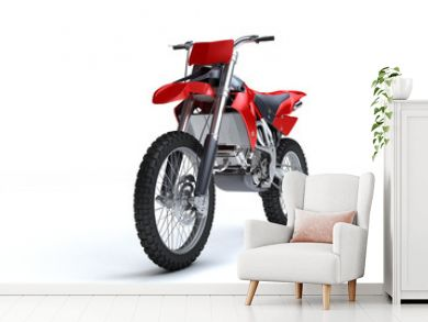 3D illustration of red glossy sports motorcycle isolated on white background. Perspective. Front view. Left side. Low angle.