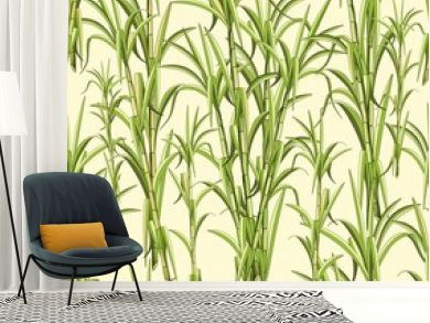 Sugar Cane Exotic Plant Seamless Pattern Vector Design