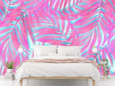 Watercolour gradient palm leaves painting on grunge textured background