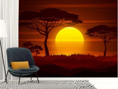Sunset in Africa. Savanna landscape vector illustration.