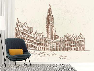 Vector sketch of  Grote Markt square in Antwerpen, Belgium.