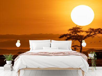 Orange Sunset Safari Vehicle Horizontal Web Banner