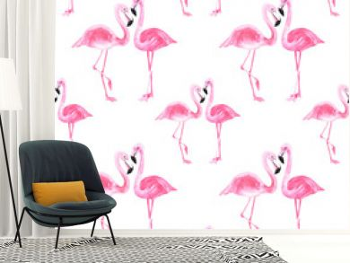 Watercolor pink flamingo pattern on an isolated white background, watercolor drawing. Stock illustration.