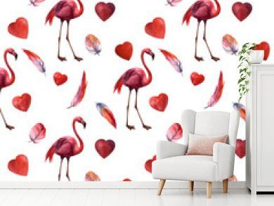 Watercolor seamless pattern with flamingo hand drawing decorative background. Print for textile, cloth, wallpaper, scrapbooking