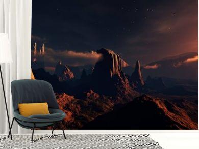 Mars, panorama of Mars, Martian landscape at sunset, alien landscape. 3d rendering.