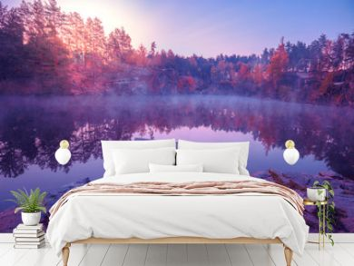 Magical sunrise over the lake. Pine trees on the lakeshore. Serene lake in the early morning. Nature landscape