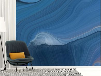 colorful horizontal banner. modern waves background design with teal blue, very dark blue and slate gray color