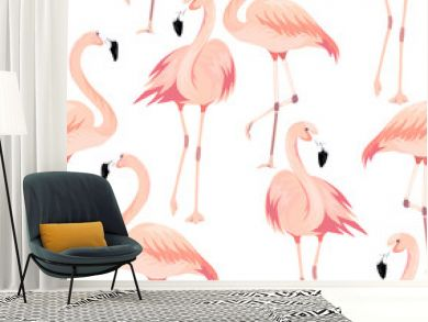 Vector seamless pattern with exotic flamingo. Summer decoration print for wrapping, wallpaper, fabric