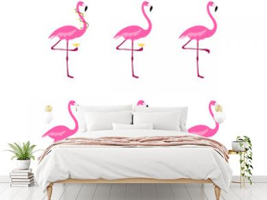 Flamingo clipart set. Tropical bird drawing. Isolated on white. Colorful cute cartoon design.