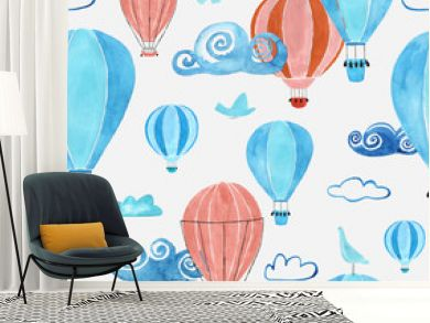 Kids Seamless Pattern With Air Balloons