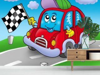 Car race starter on road