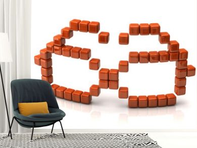 Glasses icon made of orange cubes