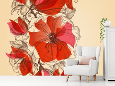 Red flowers seamless pattern in retro style