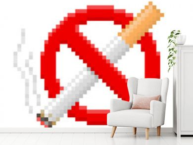 Pixel no smoking sign. Vector illustration.