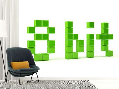 Pixel art 8 bit. 3d text isolated