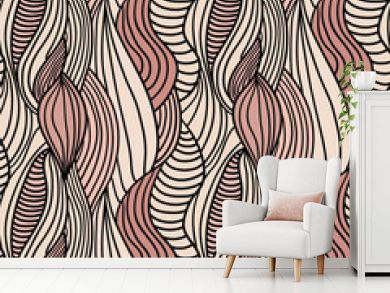 Seamless abstract hand-drawn vector pattern, hair background
