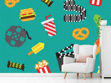 Pixel movie icons seamless retro pixel pattern