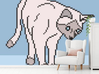Pixel Cat Background - vector illustration