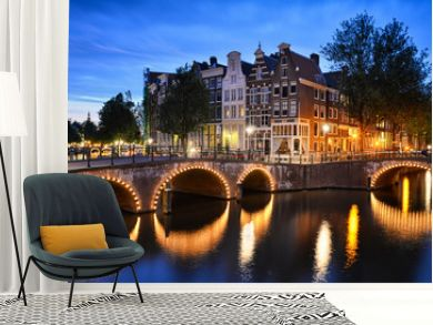 Night scene at a canal in Amsterdam