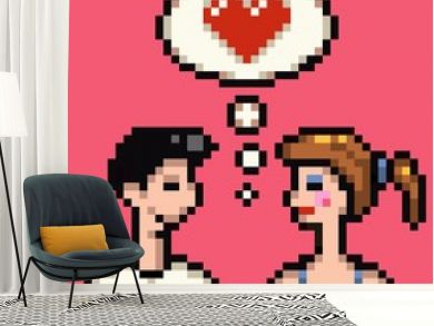 retro heart pixel lovers illustration