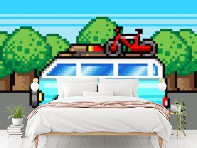 family road trip summer vacation pixel clipart