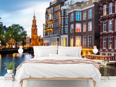 Amsterdam cityscape with the Mint tower at dusk